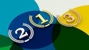 3D rendering of first,second and third place on colorful background Royalty Free Stock Image