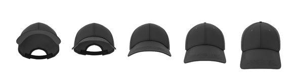 3d rendering of five black baseball caps shown in one line in a front view but in different angles.