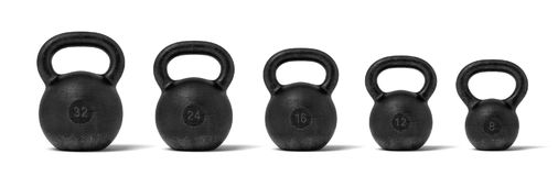 3d rendering of five black iron kettlebells in a single line with different weight stamps of 32, 24, 16, 12 and 8 kg. Weight training. Lifting heavy equipment vector illustration