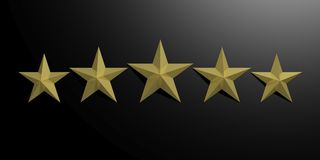 3d rendering five golden stars. On black background vector illustration