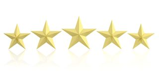 3d rendering five golden stars. On white background vector illustration