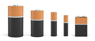 3d rendering of five standard compact batteries in black and orange color of different sizes. Energy supply. Home appliances. Changing batteries Stock Photos