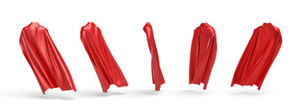 3d rendering of a five types of view of a cape made from a red satin clothes isolated on white background Royalty Free Stock Photo