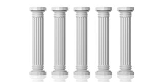 3d rendering five white marble pillars. On white background Stock Image