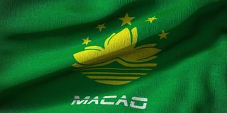 3d rendering of a flag Macau with fabric texture stock illustration