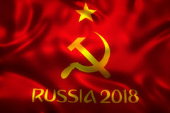 3D Rendering of Flag for World Football 2018  - World Soccer Tournament in Russia Royalty Free Stock Images
