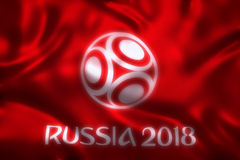 3D Rendering of Flag for World Football 2018  - World Soccer Tournament in Russia Stock Photo