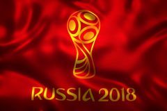 3D Rendering of Flag for World Football 2018 Wallpaper - World Soccer in Russia Royalty Free Stock Photo