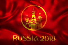 3D Rendering of Flag for World Football 2018 Wallpaper - World Soccer in Russia Stock Image