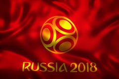 3D Rendering of Flag for World Football 2018 Wallpaper - World Soccer in Russia Royalty Free Stock Image