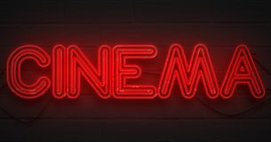 3D rendering flickering blinking red neon sign on dark brick background, cinema movie film entertainment sign. Concept royalty free stock image