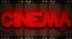 3D rendering flickering blinking red neon sign on film strip background, cinema movie film entertainment sign. Concept royalty free stock photography