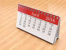 3D rendering calendar. 3D rendering flipchart desktop calendar for 2018 year Royalty Free Stock Photos