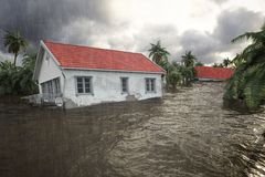 3d rendering. flooding houses. Flooding houses with rising water. 3d rendering Royalty Free Stock Photography