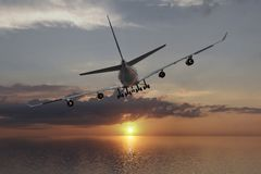 A 3D rendering from a flying airliner over the ocean towards the ocean towards the sun Stock Photography