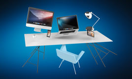 3D rendering flying workplace with laptop phone and tablet. On blue background Royalty Free Stock Image