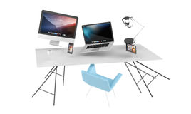 3D rendering flying workplace with laptop phone and tablet Royalty Free Stock Image