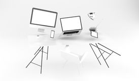 3D rendering flying workplace with laptop phone and tablet Stock Image
