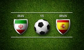 3D Rendering - Football Match schedule, Iran vs Spain. Flags of countries and soccer ball Stock Photography