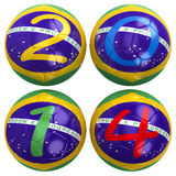 World Cup 2014. 3D rendering of footballs in the year 2014 over white Stock Images