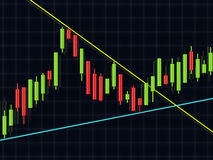3d rendering of forex candlestick chart over dark. Background royalty free illustration