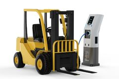 Forklift truck charges at station