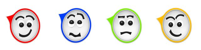 3D Rendering of four funny speech bubbles Stock Photo