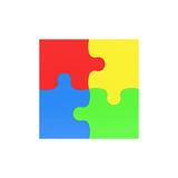 3d rendering of four multicolored puzzle pieces interconnected on white background. Fitting in. Unity. Jigsaw Royalty Free Stock Photography