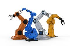Robot arms four models. 3d rendering four robotic arms on white background vector illustration