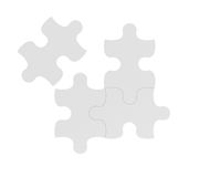 3d rendering of four white puzzle pieces isolated on white background. Games and toys. Thinking and guesswork. Problems and solutions Stock Image