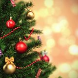 3d Rendering fragment decorated Christmas tree. With toys Stock Image