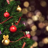 3d Rendering fragment decorated Christmas tree. With toys Stock Photography