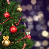 3d Rendering fragment decorated Christmas tree. With toys Royalty Free Stock Image