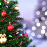 3d Rendering fragment decorated Christmas tree. With toys Stock Images