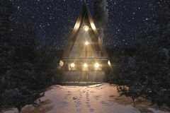 3d rendering of A-frame wooden cabin in snowy winter landscape at starry night.  stock illustration