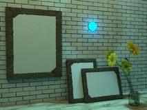 3d rendering. Frames of a brick wall, a bouquet of flowers in a jar Royalty Free Stock Images