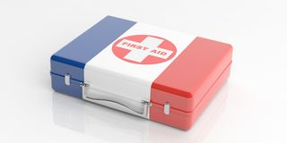 3d rendering France flag first aid kit on white background Royalty Free Stock Photo