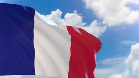 3D rendering of France flag waving on blue sky background with Alpha channel stock video