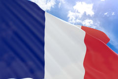 3D rendering of France flag waving on blue sky background Stock Photo