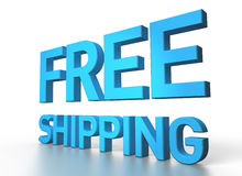 3d rendering of Free shipping blue glossy text on white backgrou Royalty Free Stock Photography