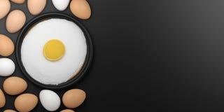 3d rendering fried egg among eggs Stock Image
