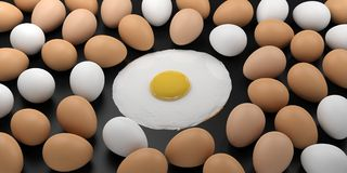 3d rendering fried egg among eggs on black background Royalty Free Stock Photo