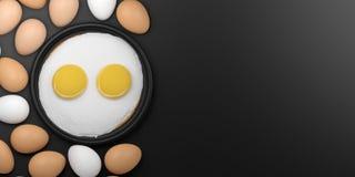 3d rendering fried eggs among eggs Stock Photo