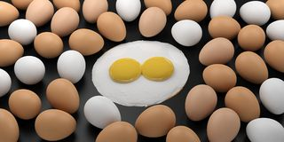3d rendering fried eggs among eggs on black background Stock Photos