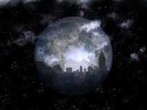 Full moon night city. 3D rendering. Full moon over night city Stock Photo