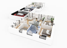 3d rendering of furnished home Stock Images