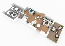 3d rendering of furnished home apartment Royalty Free Stock Photos