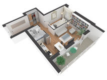 3d rendering of furnished home apartment Stock Images