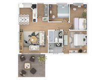 3d rendering of furnished home apartment Royalty Free Stock Image