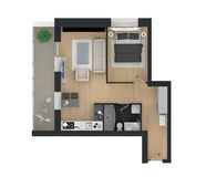 3d rendering of furnished home apartment Royalty Free Stock Images